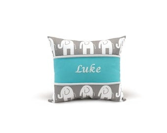 Elephants Chevron Pillow (choose trim color)