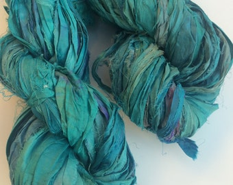 Sari silk ribbon, cyan aqua, 100g, recycled yarn, knitting yarn, crochet yarn, ribbon yarn