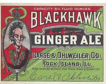 Blackhawk Ginger Ale Vintage Soda Label, 1920s