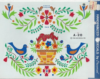 Birds and Swags Vintage Handpainted Decorcal Decals, 1984