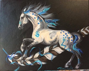 Hawk Feather Dun perlino buckskin horse indian pony war horse