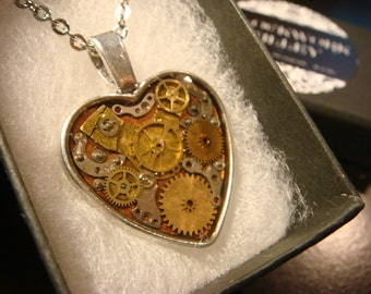 Clockwork Heart with Vintage Watch Parts Steampunk Style Necklace (2078)