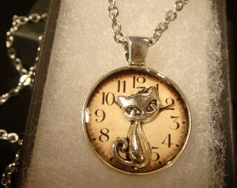 Small Silver Cat over Clock Pendant Necklace (2105)