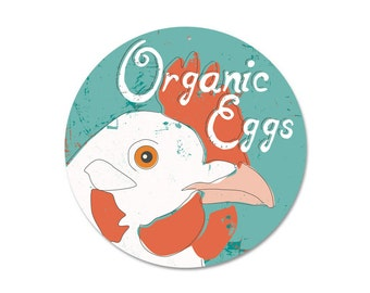 """Organic Eggs Sign 9"""" Round - Seaport Collection SKU: SR9061"""