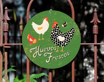 "Huevos Frescos Sign 9"" Round - Seaport Collection SKU: SR9065"