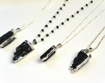 Silver Black Tourmaline Necklace, Boho Long Necklace,  Layered Jewelry, Raw Tourmaline Pendant, Healing Stone, Gemstone, Bar, Beaded Chain