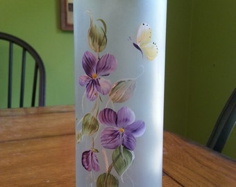 Recycled Wine Bottle Glass Candle - Purple Flowers & Butterfly