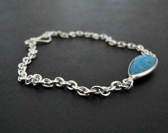 Turquoise Bezel Bracelet | Sterling Silver Bracelet | Bezel Pendant | Pendant Chain Bracelet | Fine Silver Jewelry | Boho Bracelet