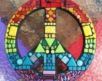 """CUSTOM RAINBOW Peace Sign - 12"""" Round - From my 'Rainbow Collection' - Multicolored Glass, Stones, Tiles, Beads & Ceramic Pieces - OOAK!!"""