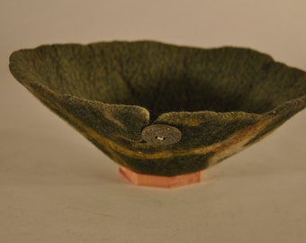 Green handmade felt yarn bowl- small