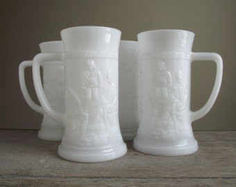 Milk Glass Beer Steins , Set of 4 Embossed Beer Mugs , White Milk Glass Tankards , Vintage Barware Tavern Pub Decor , Holiday Entertaining