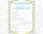 Blue Advice Card Chevron Yellow Gray Boy Baby Shower Advice Game Card Party Printable Baby Boy Activity PDF Advice Card Mommy To Be (#6)