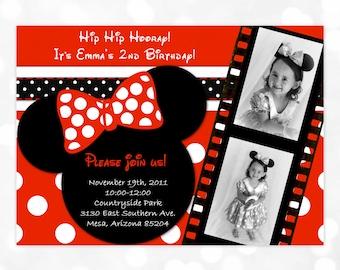Minnie Mouse Birthday Invitation  Minnie Mouse Invite 2nd Birthday Invitation Girl Birthday Invitation Black Red Polka Dot  (Item #3)