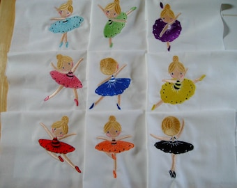 Ballerina quilt blocks embroidered quilt blocks ballerina quilt blocks set of 9 quilt blocks  machine embroidery