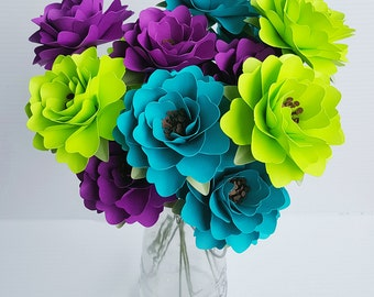 Paper Flowers - Wedding Flowers - Table Decor - Centerpieces - Peacock - Custom Color - Made To Order - Wide Variety Of Colors - Set of 24