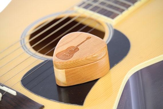 "Guitar Pick Box,  2-1/4"" x 2"" x 1"" d., Pattern G20 deep, Solid Cherrywood, Laser Engraved, Paul Szewc"