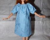 Lite blue Flannel Peasant styke nighty & slippers for Fashion Dolls - ed800