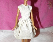 White & taupe floral dress with pearls on waist for Fashion Dolls - ed824