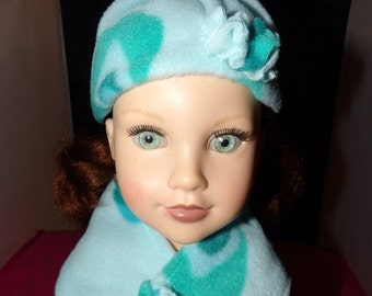 Handmade Winter hat and scarf set in teal blue with butterflies - ag256