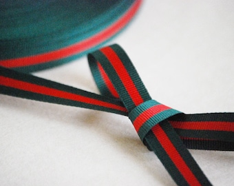 "45M Roll x 10mm,15mm (app.3/8"",5/8"") Double Face Forest Green and Red Stripe Grosgrain Ribbon"