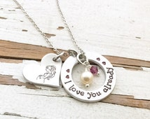 Handstamped mommy necklace coming soon expectant mother baby jewelry birthstone pearl  new mom mommy to be shower gift i love you already