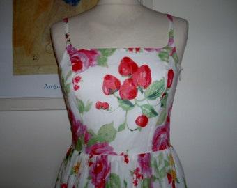 Vintage floral long strappy dress Laura Ashley UK 10