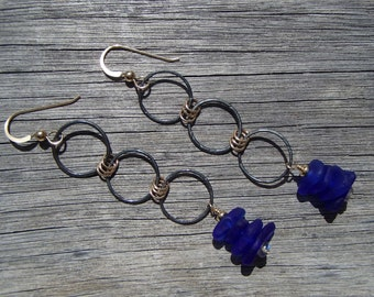 Oxidized Sterling Silver & Gold Filled Cobalt Sea Glass Dangle Earrings (S33)