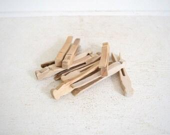 Ten Vintage Clothespins - Flat Wood Clothespins