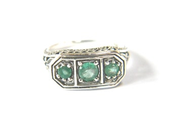 Aquamarine Art Deco Antique Reproduction Sterling Silver Ring size 6
