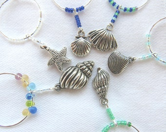 Seashell Wine Charm/ Set of 6/ Hostess Gift/ Party Supplies/ Entertaining