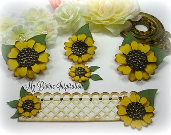 Handmade Fall Paper Embellishments and Paper Flowers / Paper Sunflowers for Scrapbooking Cards Mini Albums Tags and Papercrafts