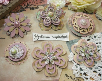 Llilac and Beige Shabby Chic Paper Embellishments and Paper Flowers for Scrapbook Layouts Cards Mini Albums Tags and Paper Crafts