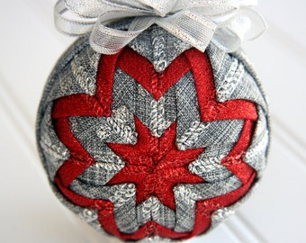 Quilted Christmas Ornament Ball/Gray, Silver and Red - Touch of Red