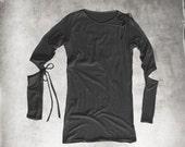 Black knit top/women cut out /peek a boo long sleeve/keyhole neck tie
