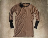 Sweater women brown/Flower clip removable/Long sleeve top/Pull over crew