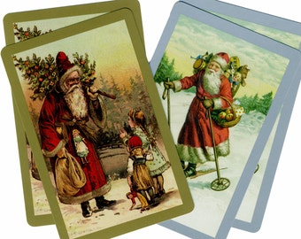 OLD ST. NICK (4) Single Swap Playing Cards Paper Ephemera Scrapbook Supplies