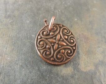 Copper Charm, Handmade Copper Findings, Moroccan Design, Rustic Handcrafted, Artisan Handmade, Artisan Copper,