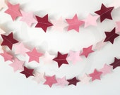 Pink Felt Garland Stars - made with wool blend felt in vintage pink colours, perfect for living room or celebrations