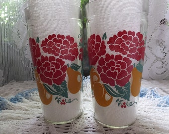 2 Vintage Anchor Hocking Red Geraniums Peaches Pears Cherries Glass Decorated Tumblers