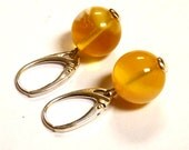 """Baltic Amber Ball Earrings Butterscotch White Cloudy Natural Untreated 1.3"""" 13 mm"""