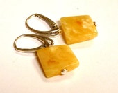"""Baltic Amber Squared Butterscotch Earrings Natural Untreated 1.33"""" 925 Silver"""