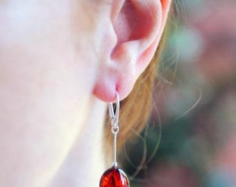 "Baltic Amber Jewelry Earrings Egg Cognac Chain 2"" 925 silver"