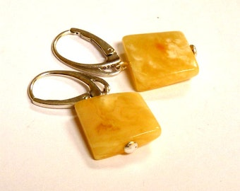 """Baltic Amber Jewelry Earrings Squared Butterscotch Natural Untreated 1.33"""" 925 Silver"""