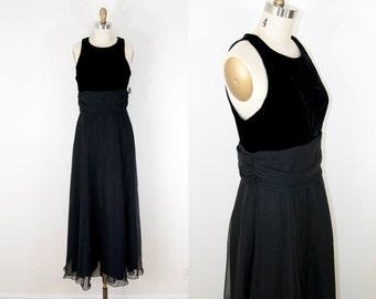 80s Vintage Velvet Black Chiffon Maxi Dress (M) Deadstock