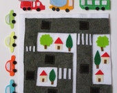 Driving Around Town- Quiet Book Page / Cars, Trucks, and Buses / Birthday Gift For Toddlers / Learning Book / Childrens Book / Felt Book /