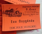 Superb batch 25 antique French pharmacie apothecary chemists labels unused c1910 EAU OXYGENEE
