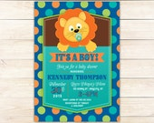Circus Invitation, Lion Invitation, Carnival Invitation, Baby boy Shower invitation, printable invite, polkadots, DIY