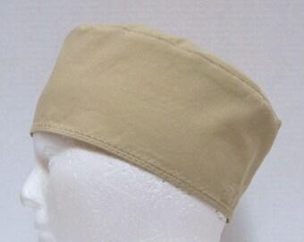 Mens Tan Scrub Hat, Surgical Cap or Chefs Cap