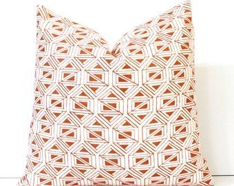 Orange Geometric Designer Pillow Accent Cushion Cover lattice ivory cream modern tribal ethnic tangerine carrot bright fall MCM mid century