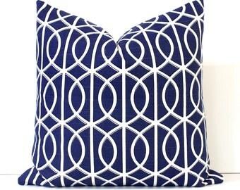 Navy Blue Geometric Decorative Designer Pillow Cover Accent Cushion white ivory hollywood regency lattice trellis round ovals indigo